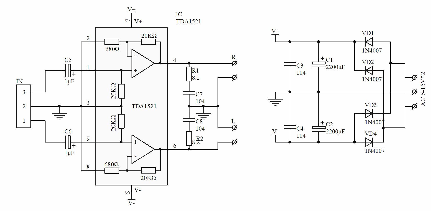 装配好后的效果图:    TDA1521简介: 高保真功放IC TDA1521采用九脚单列直插式塑料封装,是飞利浦215W单片功放集成电路, 外围元件极少, 使用方便, 具有短路保护和静噪功能。电器特性参数:(Vcc=16V RL=8 f=1KHz Ta=25) 1、电源电压 :Vcc = 7.5 -- 20V 推荐值:15V 2、输出功率 :Po =212W(THD=0.